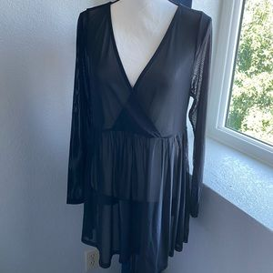 Torrid black mesh babydoll top